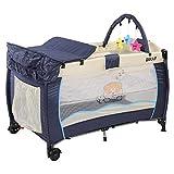 Bakaji Lettino Culla Box Gioco da Campeggio per Bambini Neonato con Fasciatoio e Arco Giochi Removibili...