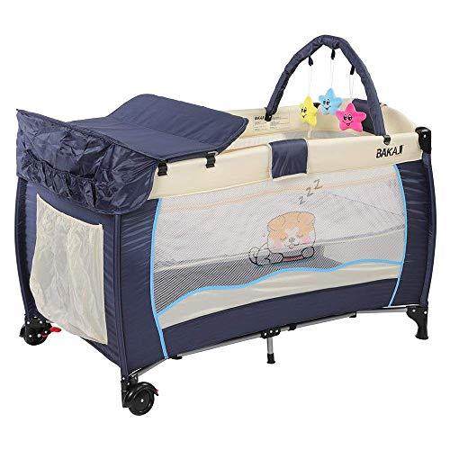 BAKAJI Cuna Box de juegos de camping para niños, cambiador y arco de juegos extraíbles, estructura de metal plegable con apertura, bolsillos laterales, ruedas y funda, azul