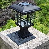 LED Columna Faro Exterior Impermeable Energía Solar Linterna Luz Comunidad Europea Estilo Villa Luz Exterior Patio Puerta Pilar Luz Pared Patio Lámpara, La luz Blanca
