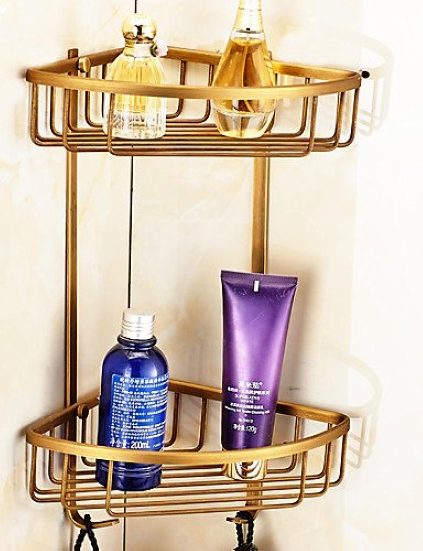 WYMBS Antique Brass Finish Bathroom Double-deck Brass Material Triangular Storage Basket , golden