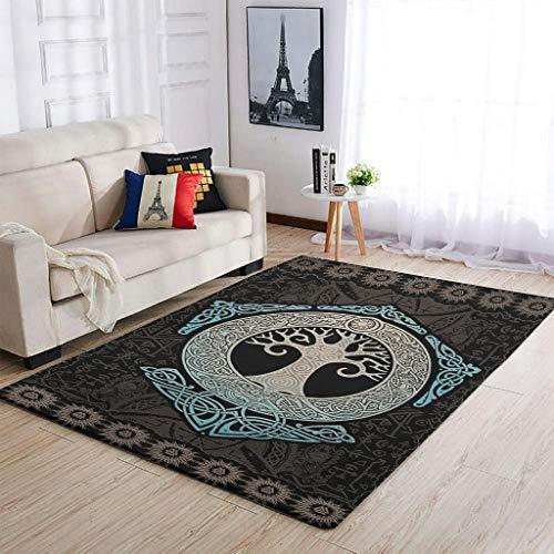 Alfombras de árbol vikingo de la vida, lavables, suaves, para decoración del hogar, color blanco, 122 x 183 cm