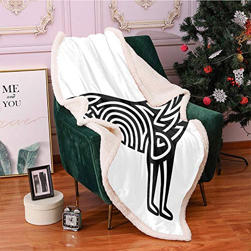 SeptSonne Crying Wolf Plush Blanket,Monochrome Celtic Pattern of Howling Canine Tribal Tattoo Design Light Thermal Blanket,for Baby Girls Fur Blanket(50in x 60in,Black and White)