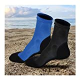 2 Pairs Neoprene Fin Socks for Sand Beach Water Sports Volleyball Soccer Swimming Diving Fishing Kayak Surfing Rafting Snorkeling (Black+Blue,S)