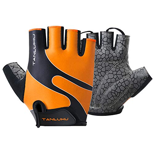 Tanluhu Cycling Gloves Mountain Bike Gloves Half Finger Road Racing Riding Gloves Breathable Shock-Absorbing Biking Gloves for Men and Women (A-Coral Orange, L)