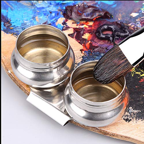 OLRWSLG Stainless Steel Palette Cup Large Mouth Double Dipper Megilp Turpentine Solvent Container with Screw Cap Oil Palette Cup for Watercolor Acrylic Oil Painting