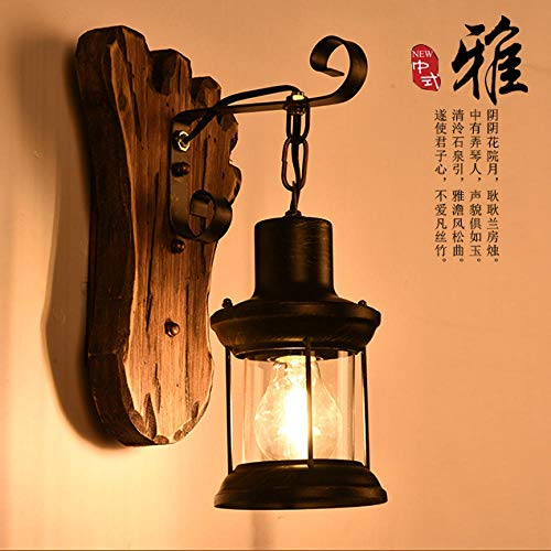 Amerikaanse Muur lamp Effen Hout Slaapkamer Oude Boot Hout loft Creatieve Koffie Woonkamer bar Taiwan Boot Hout Amerikaans