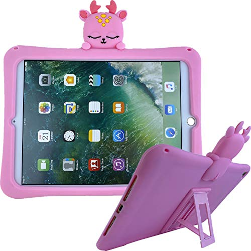 NewiPad Air Case with Adjustable Shoulder Strap,Cute Shockproof Silicone with Stand Case Cover for iPad 2017/2018 9.7 inch and iPad Air1 (Pink)