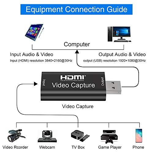 Aokeou HDMI Videoaufnahmekarte - 1080P 30fps Capture streamen, aufnehmen und Teilen - USB 2.0 Video Capture Karte,unterstützt Videoaufzeichnung Live-Übertragungen (Schwarz)