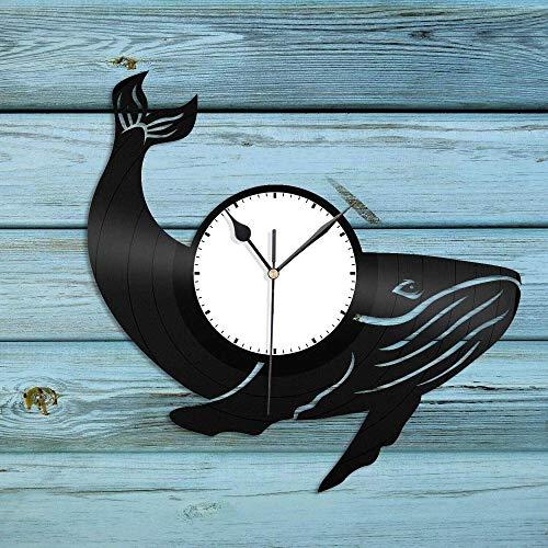 hhhjjj Reloj de Pared de Vinilo de Ballena Adornos Amantes de los Animales Adornos de habitación de niños diseño Retro Oficina Bar habitación decoración del hogar