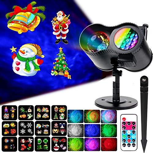 KOOT Weihnachtsprojektor LED-Projektor 12 Diamodi +9 Farbeffekte Wasserdicht Fernbedienung Dekoratives Nachtlicht Weihnachten Halloween Geburtstag Hochzeit Party
