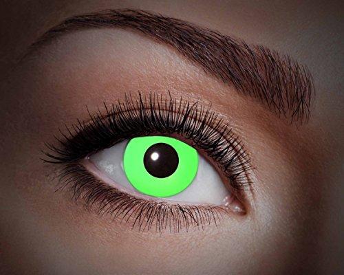 UV-Flash Green, farbige Kontaktlinse, Jahreslinse, 14,5 mm ohne Dioptrin für Party, Club, Nightlife