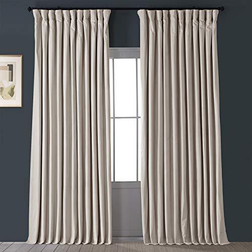 HPD Half Price Drapes VPCH-VET1217-108 Signature Extra Wide Velvet Blackout Curtain (1 Panel), 100 X 108, Ivory