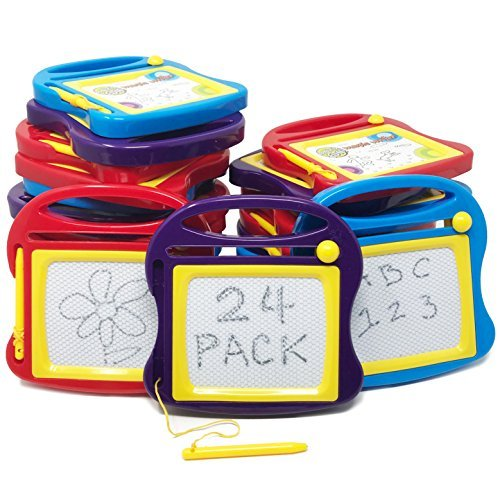 Boley Mini Doodle Boards - 24 Pk Magnetic Drawing Board Set for Kids - Portable Toddler Writing Tablet & Sketch Pad for Ages 3+