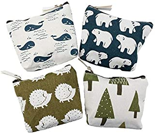 Canvas Coin Purse, iToolai Women's Animal Canvas Change Cash Bag Small Purse Wallets, Pack of 4