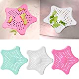 kuou 3 pcs Bathroom Sink Filter, Star Shaped Shower Drain Hair Catcher Drain Cover Hair Trap Bathtub Drain Cover Home Kitchen Accessories (Red, White, Green)