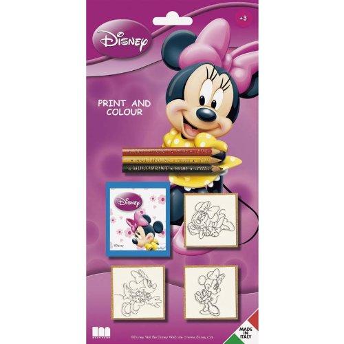 Multiprint Blister 3 Sellos para Niños Disney Minnie Topolina, 100% Made in Italy, Sellos Personalizados para Niños, en Madera y Caucho Natural, Tinta Lavable no Tóxica, Idea de Regalo, Art.03866