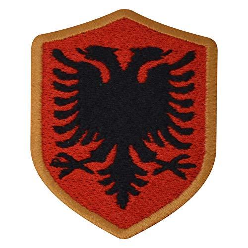 benobler FanShirts4u Aufnäher - ALBANIEN - Wappen - 7 x 5,6cm - Bestickt Flagge Patch Badge Fahne Albania (goldene Umrandung)