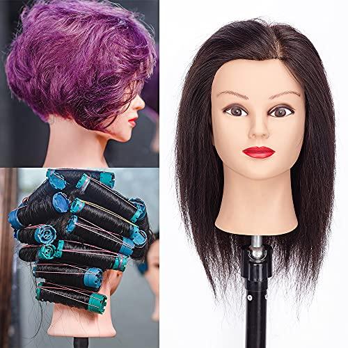 HLRM Testa per parrucchieri, 30cm, Testa Studio Manichini 100% Capelli Veri, Testa da Parrucchiere per Sbiancamento e Tintura (supporto da tavolo incluso)