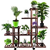 Brightup Plant Stand, Wood Plant shelf with Detachable Wheels for Indoor Outdoor, 6 Tier 17 Pots Tall Wooden Plant Shelves Display Rack Holder in Garden Bathroom Office Living Room Balcony Patio Yard