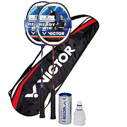 VICTOR Premium Badminton Set, 2X V-3100 / Racketbag / 3X Nylonball, Rot/Blau (blau/rot)