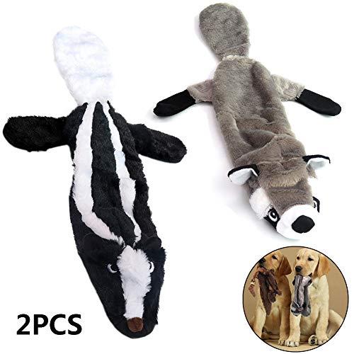Geen vulling Duurzaam hondenspeelgoed Pluche hond Piepend kauwspeelgoed voor puppy Kleine, middelgrote grote honden die plezier maken - Konijn, beer, wolf en eekhoorn (2 stuks),B