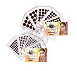 IS4A 447 Multicolored Bollywood Forehead Stickers Adhesive Body Jewelry 9 Cards of Different Sized Tattoo Velvet Bindi Round Dot (Maroon ( Deep Red ))