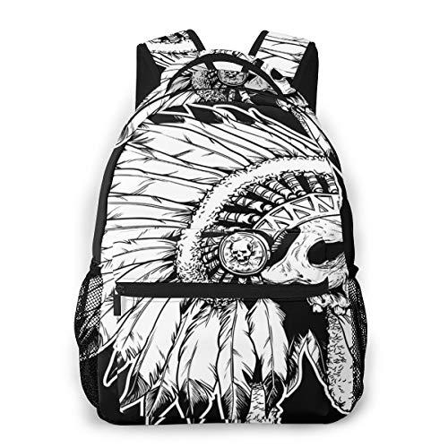 Mochilas Portatil 14 Pulgadas, Resistente al Agua Casual Mochila, Multifuncional Mochila De Gran Capacidad para Hombre Mujer Escolar Trabajo Viajes American Apache Head Skull
