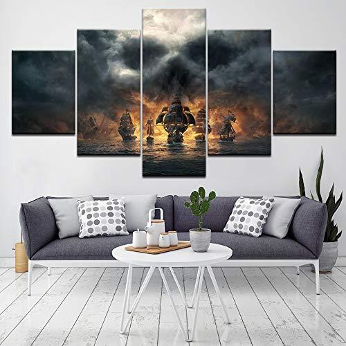 kxdrfz Cartel Piratas del Caribe Película Arte de la Pared 5 Piezas Pintura de la Lona Cuadros Modulares Wallpapers Imprimir Sala de Estar Decoración Caliente-Frame