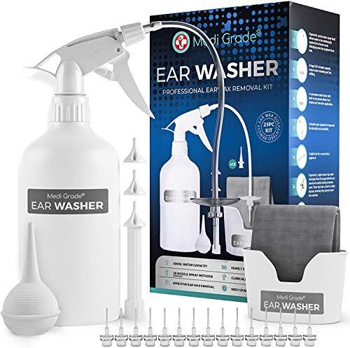 Medi Grade Professionelle Ohr Reinigung - 16-in-1 Ohrenschmalz Entferner - Sichere Pumpe zum Ohrenschmalz Entfernen - Umweltfreundliches Ohrreinigungs - Set - Verbessert das Hören