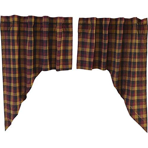 VHC Brands Primitive Kitchen Window Curtains-Heritage Farms Swag Pair, Deep Burgundy Red