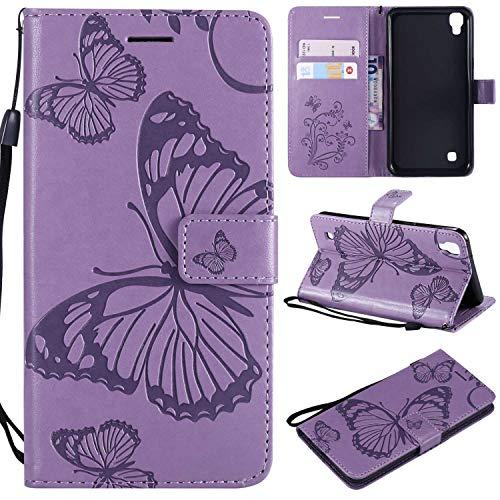LG X Power Hülle,THRION PU Schmetterling Brieftaschenetui mit magnetischer Handschlaufe und Ständerhalterung für LG X Power, Lila