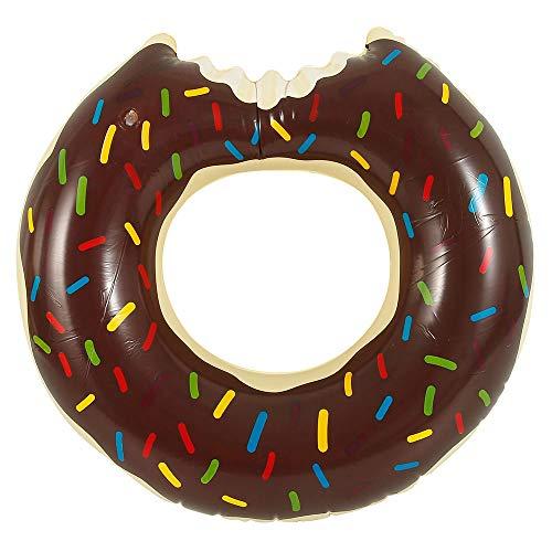 Schwimmring Donut mit Biss 80cm Floating-Ring Riesen Donut Wassermelone Melone Rot Rosa Aufblasbar Ring Luftmatratze Reifen Schwimmreifen für Erwachsene und Kinder Party, Pool, Strand (Braun, 1pcs)