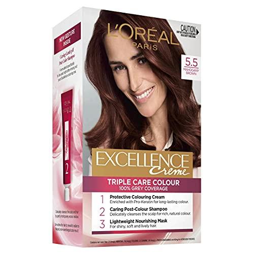 L'Oréal Paris Excellence Creme, 5.5 Mahogany Brown (100% Grey Coverage)