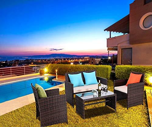 Do4U 4 Pcs Patio Furniture Sets, PE Rattan Chairs Table Sofa Patio Set for Indoor, Outdoor Garden,...
