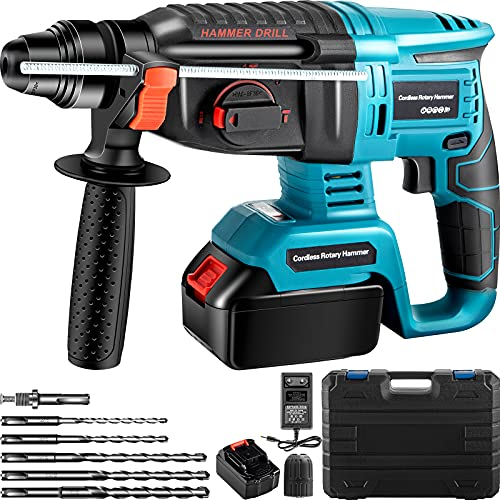 VEVOR SDS-Plus Heavy Duty Rotary Hammer Drill, 1400 RPM & 450 BPM Variable Speed Electric Hammer, 4 Functions Cordless Drill w/Ruler & Drill Bits, 360? Rotary Handle Demolition Hammer for Concrete