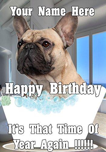 Französische Bulldogge BD30Bath Time Fun Cute Happy Birthday A5personalisierbar Grußkarte geschrieben von uns Geschenke für alle 2016von Derbyshire UK