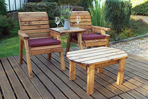 Home Gift Garden Wooden Outdoor Twin Companion Seat and Coffee Table - Solid Wood Patio Decking Furniture
