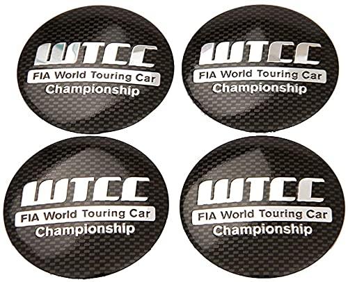 4 Piezas Tapacubos, para Chevrolet Cruze Civic Citroen C-Elysee Ford focus Volvo, Impermeable Antióxido Decoración Accesorios Tapas Centro Rueda, Modificadas Hub Caps con Emblema, 56.5mm