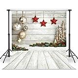 LYWYGG 8x8FT Fondo de Fotografía de Navidad Fondo de Tablero de Madera Blanco Fondo de Estrellas...