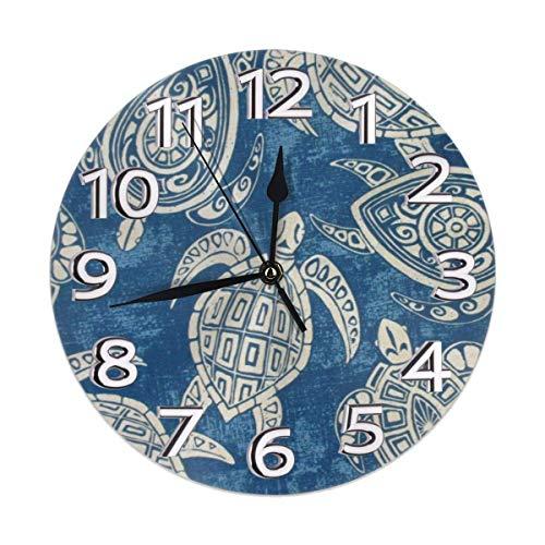 Night Ing Orologio da Parete Rotondo Durevole per Orologio da Parete a Forma di Tartaruga Marina Tribale