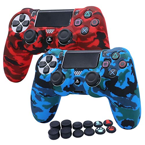 RALAN Silicone Skins Cover Case Protecteur Compatible avec Sony PS4/PS4 Slim/PS4 Pro Controller + 12 x Thumb Grip Caps.
