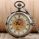 FEELHH Reloj De Bolsillo De Cadena Vintage,Pátina Verde Numerales Romanos Literalmente Superficie Abierta Esqueleto Mecánico Manual Gran Reloj De Bolsillo Reloj De Hombre