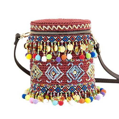 XXSC-ZC DIY Estilo Indio Cubo Material de la Bolsa 200G Paquete Incluyendo Las Bolas del Hilado y 3mm de Ganchillo de Crochet, Kits de Tejer, Rojo marrón,Rojo