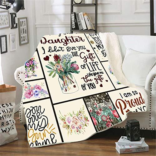 ACJIA Fleece Manta a mi Hija, Carta Impresa Quilts Air Mail Makets Positive Foment and Love Gifts,150 * 130cm