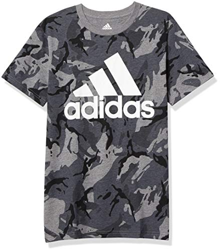 adidas Boys' Short Sleeve Cotton Jersey Logo T-Shirt Tee, Classic Camo Gray, Large