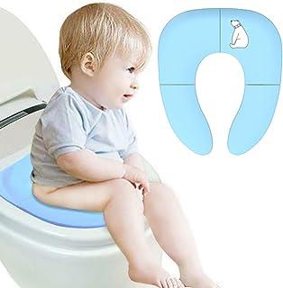 LINXAS 補助便座 おまる 折りたたみ トイレトレーニング 子供用 幼児用便座 キッズ用便座 子どもトイレ ベビー補助便座 (ブルー白くまちゃん)