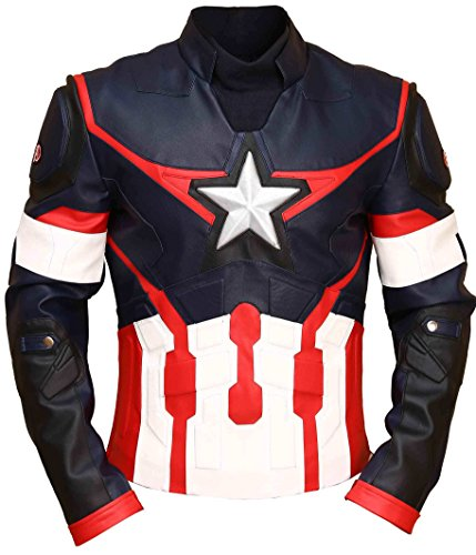 Chaqueta Moto Capitan America Marca Superior Leather Garments