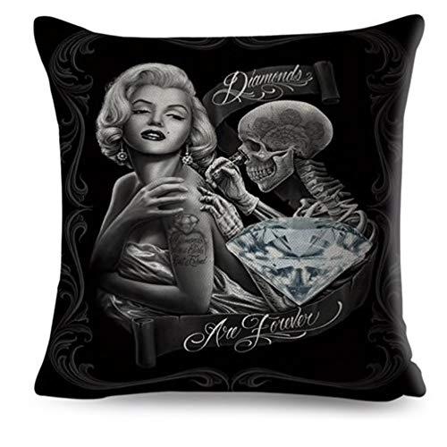 Kustom Factory - Cojín con diseño de calavera de Marilyn Monroe