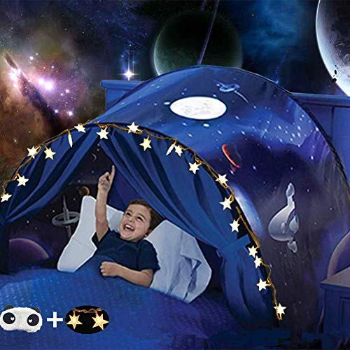 Bed Tents for Girls Boys,Pop Up Tents for Kids with Light,Kids Dream Bed Tent,Sleep Tent,Children's Playrooms,Christmas Birthday Gifts (Space)