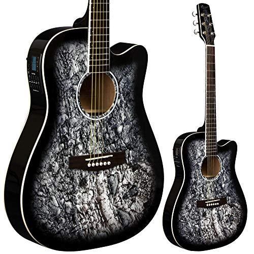 Lindo Skull Elektroakustische Gitarre (mit F-4T Preamp/LCD Digital Tuner/Transporttasche) Black Gloss
